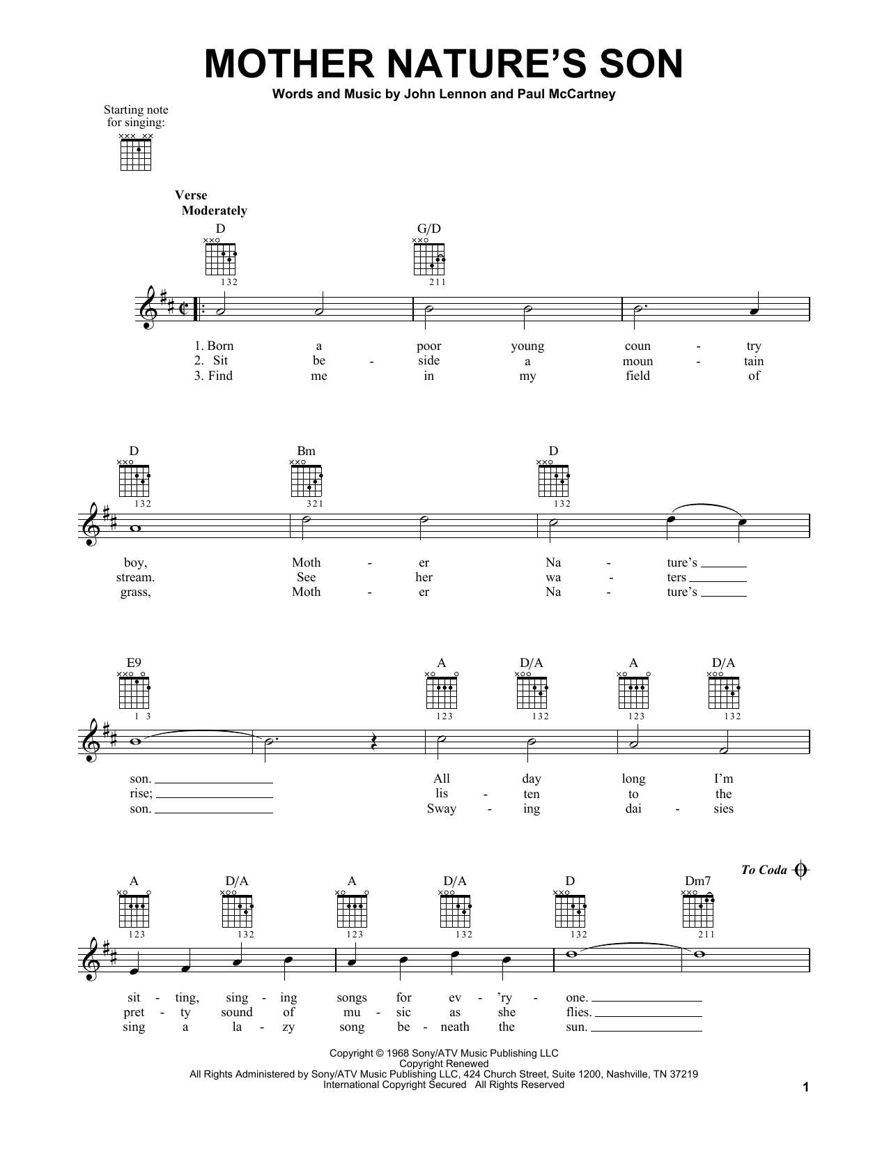The Beatles Mother Natures Son Sheet Music Notes Chords