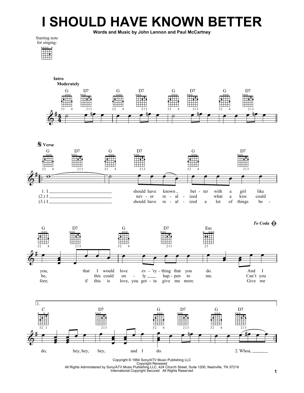 The Beatles I Should Have Known Better Sheet Music Notes Chords