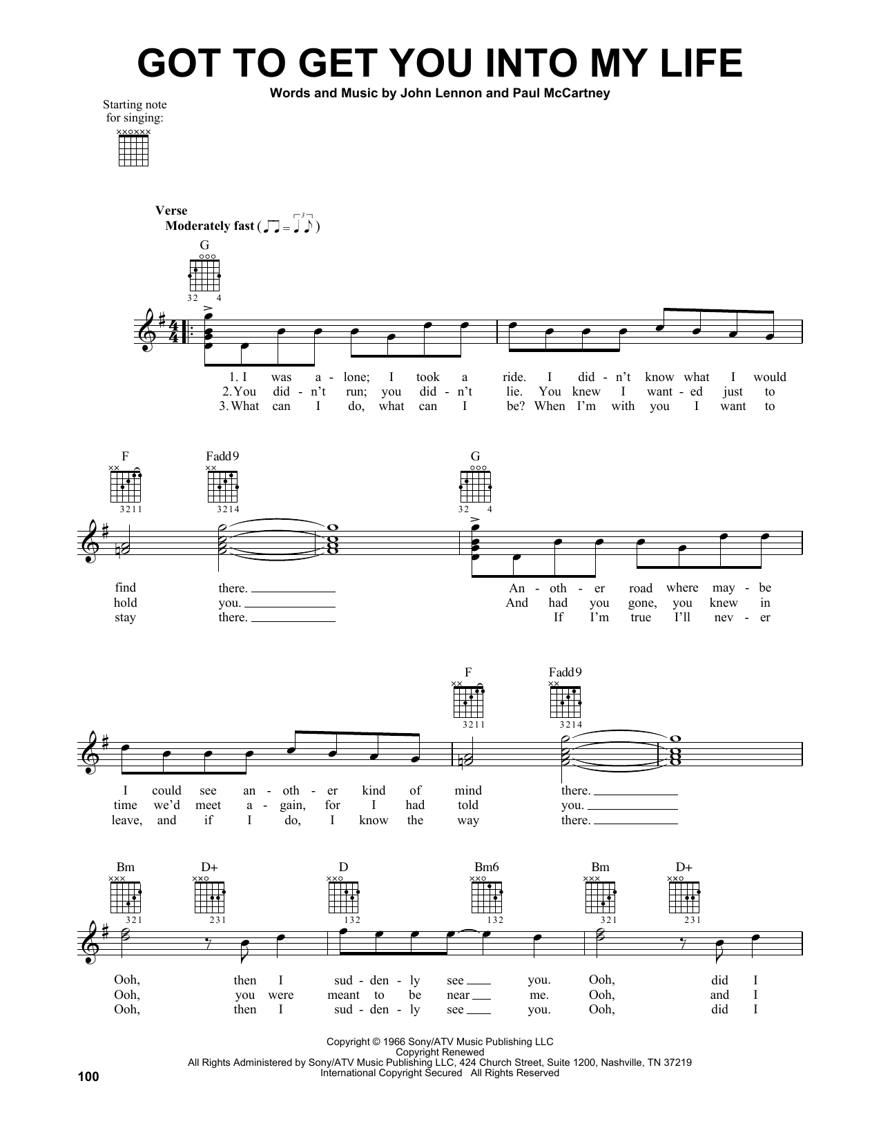 The Beatles Got To Get You Into My Life Sheet Music Notes Chords