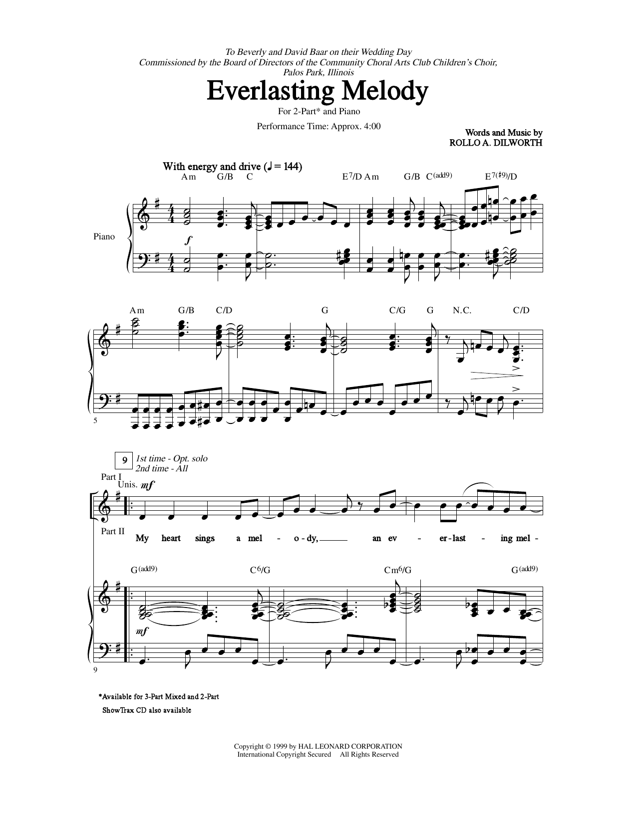 Rollo Dilworth Everlasting Melody Sheet Music Notes Chords