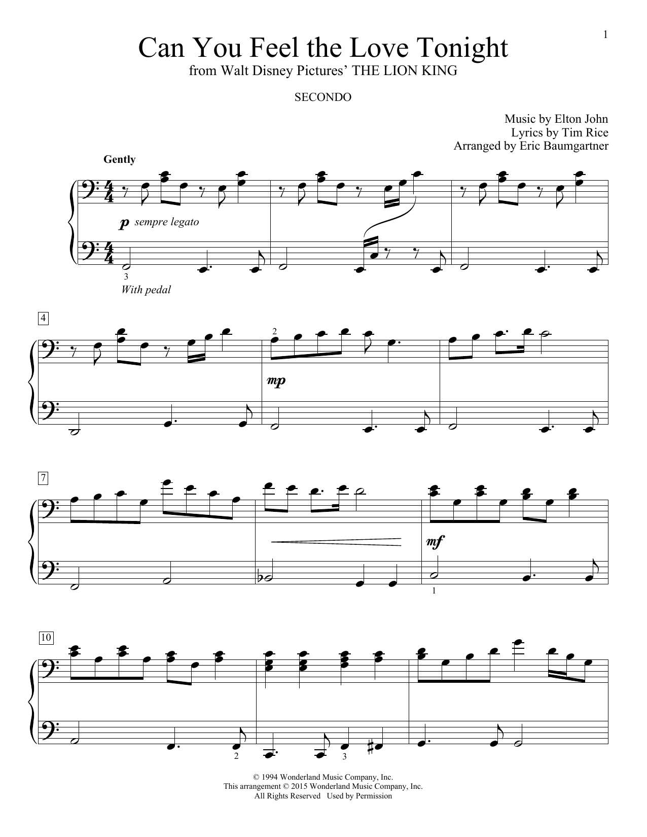 Elton John Can You Feel The Love Tonight Sheet Music Notes Chords