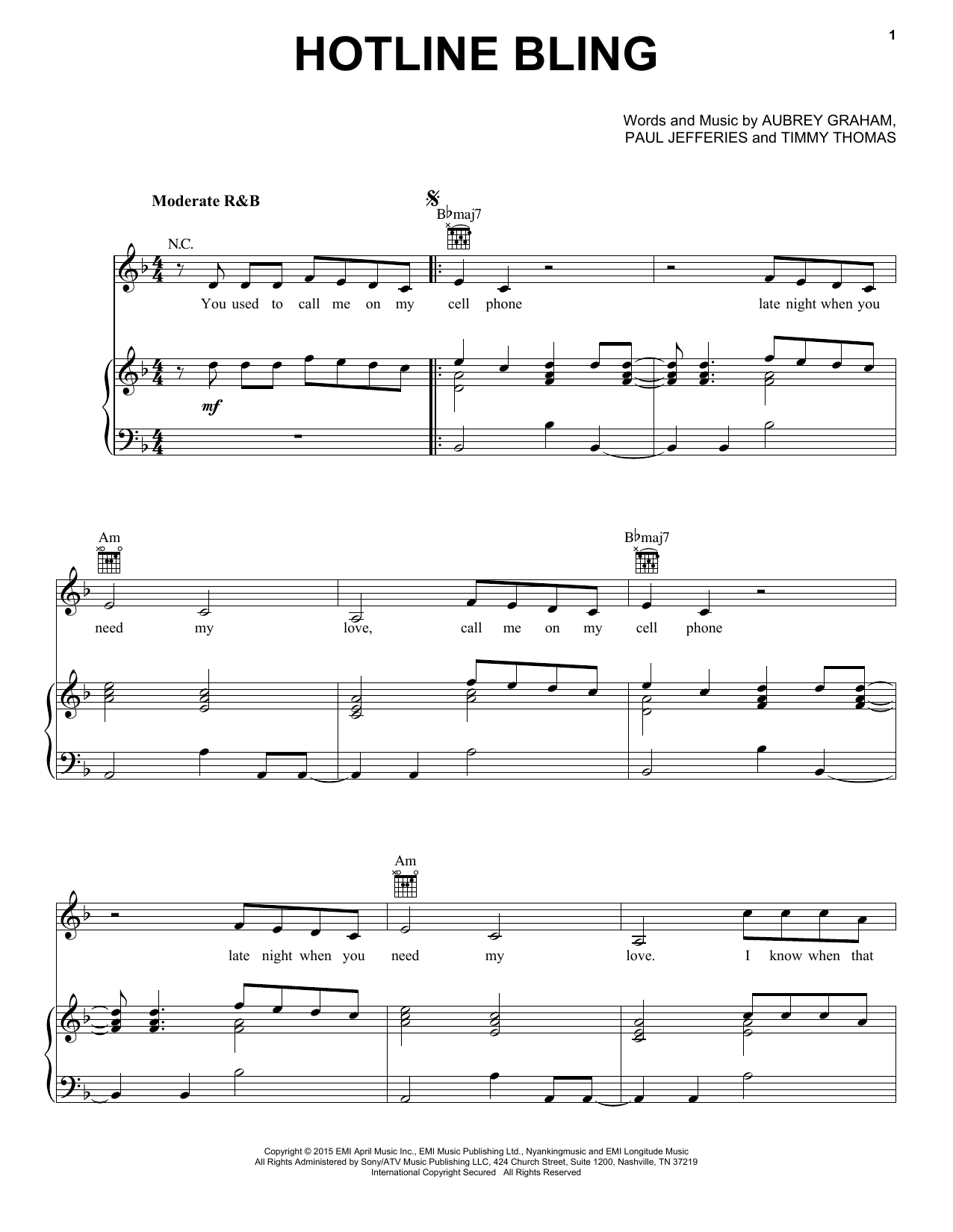Drake Hotline Bling Sheet Music Notes Chords Printable Pop