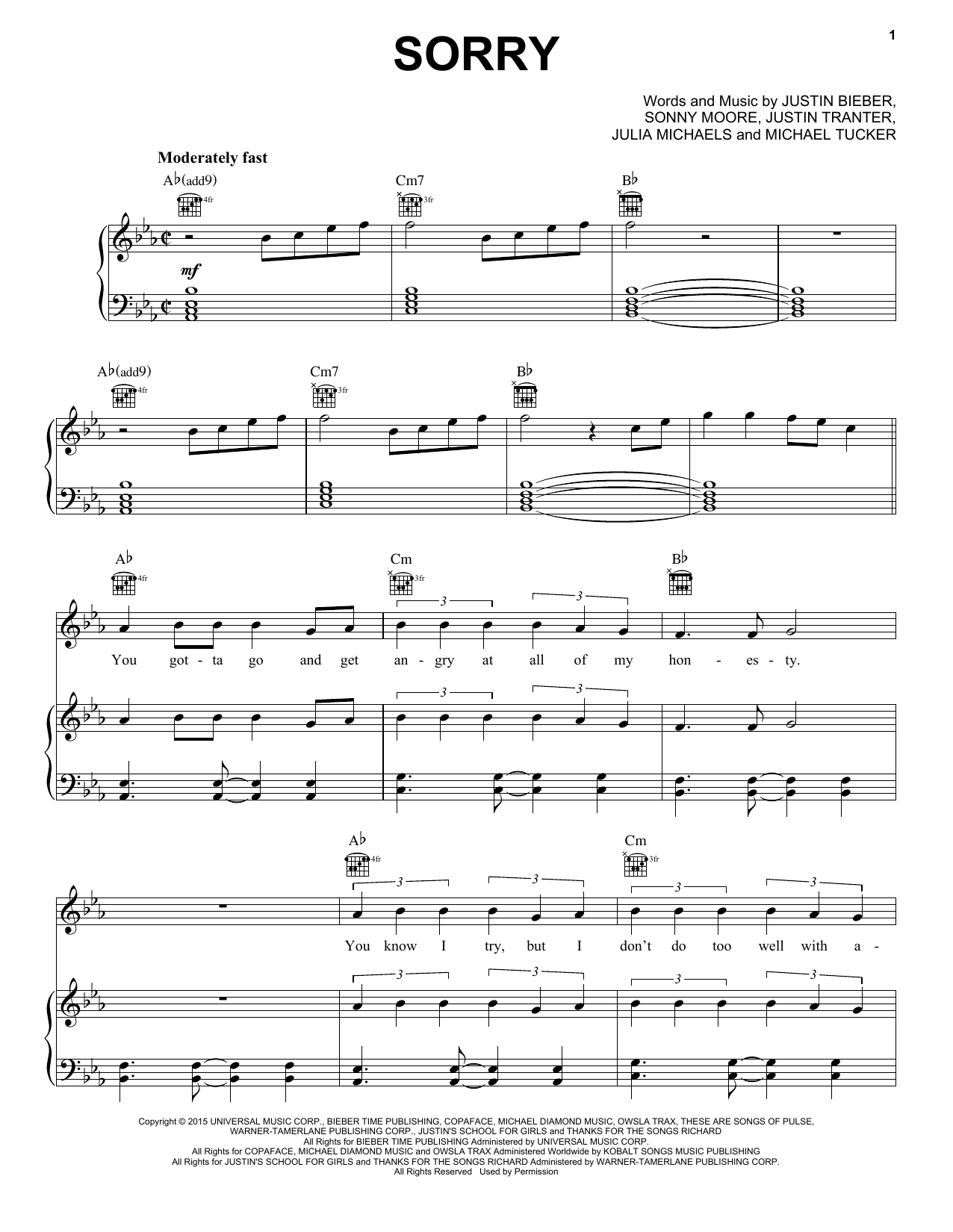 Justin Bieber Sorry Sheet Music Notes Chords Printable Pop