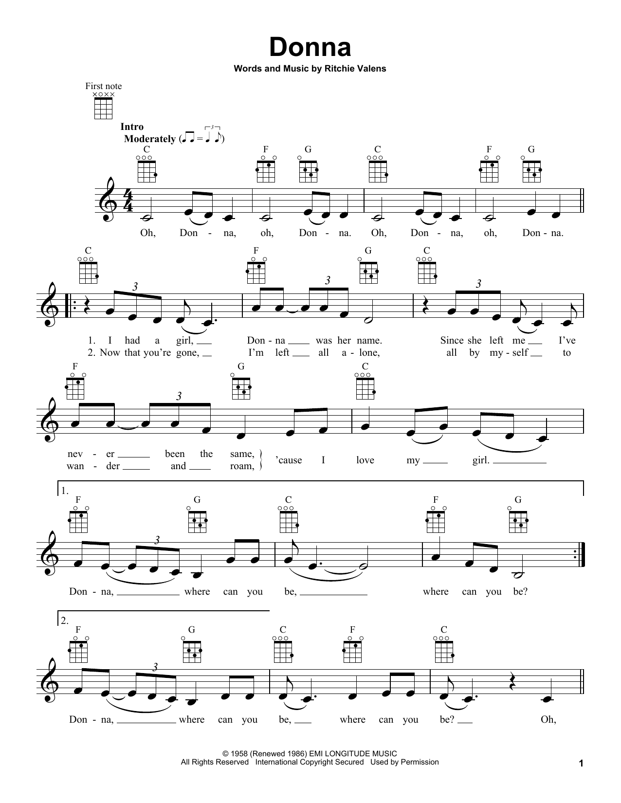 Ritchie Valens Donna Sheet Music Notes Chords Printable Pop