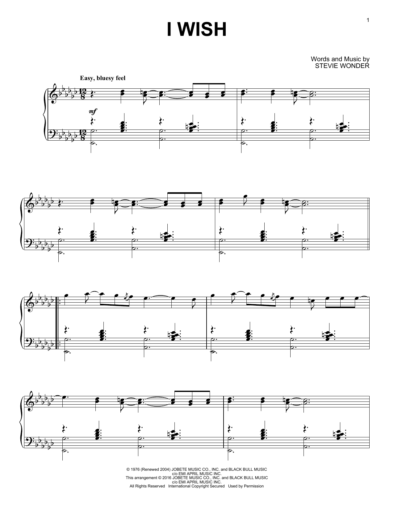 Stevie Wonder 'I Wish' Sheet Music Notes, Chords | Download Printable Piano  - SKU: 162694