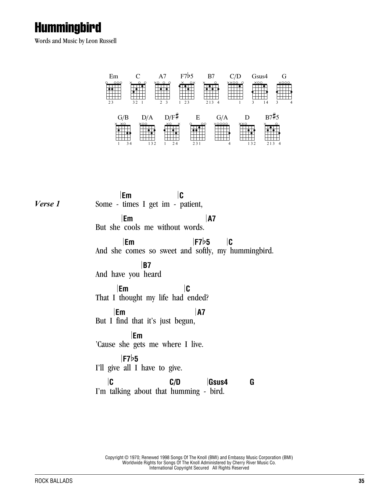 Leon Russell Hummingbird Sheet Music Notes Chords Printable