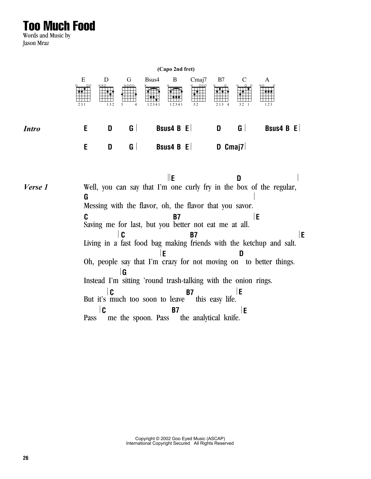 Jason Mraz Too Much Food Sheet Music Notes Chords Printable