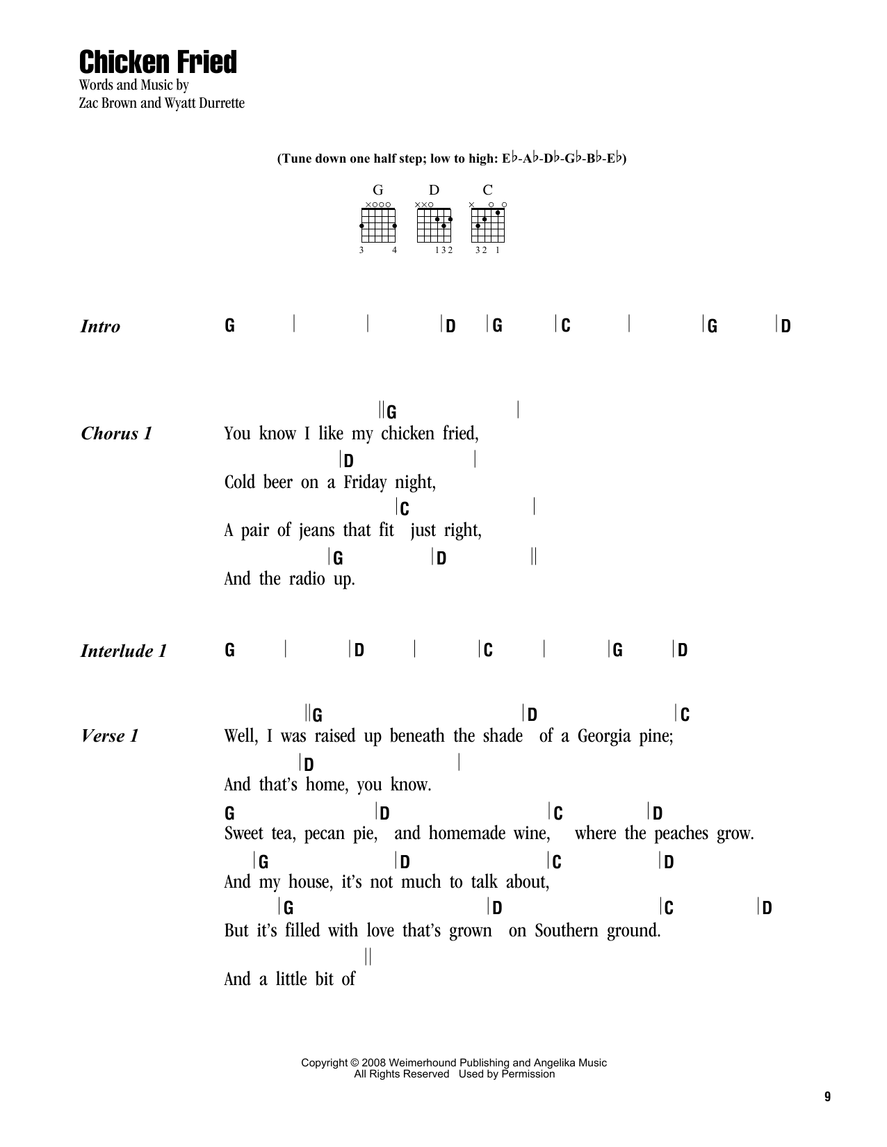 Zac Brown Band Chicken Fried Sheet Music Notes Chords Printable