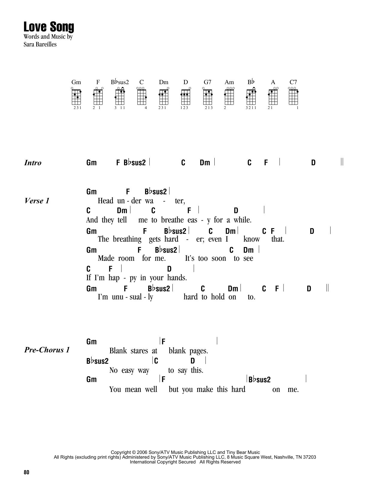 Sara Bareilles Love Song Sheet Music Notes Chords Printable Pop