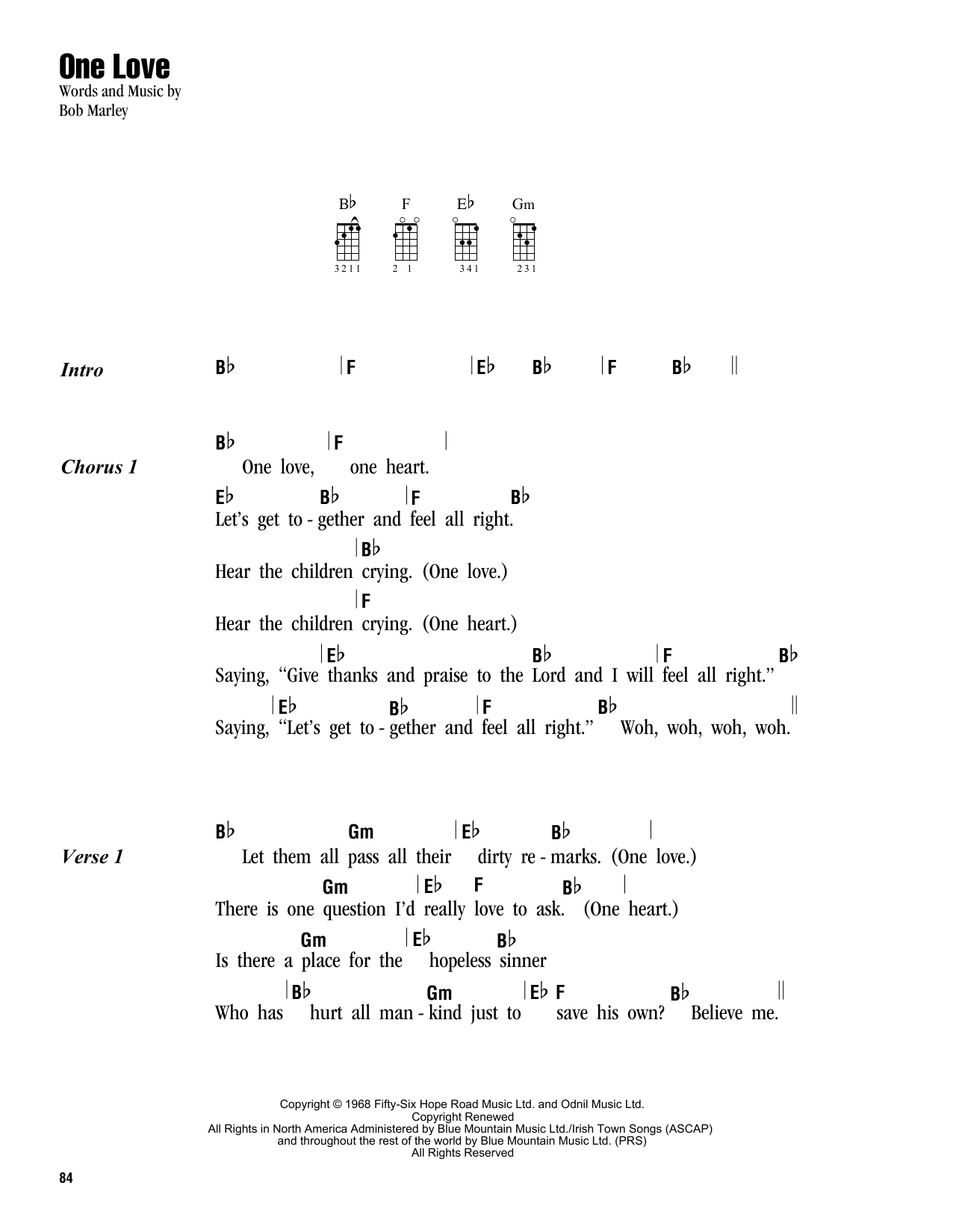 Bob Marley One Love Sheet Music Notes Chords Printable Folk