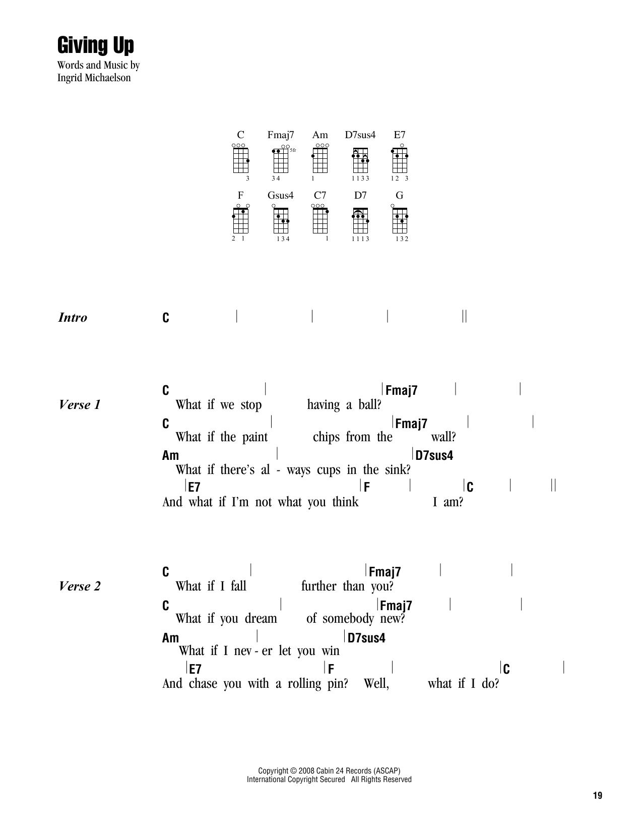 Ingrid Michaelson Giving Up Sheet Music Notes Chords Printable