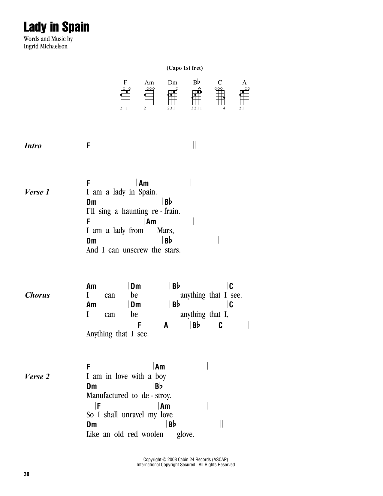 Ingrid Michaelson Lady In Spain Sheet Music Notes Chords