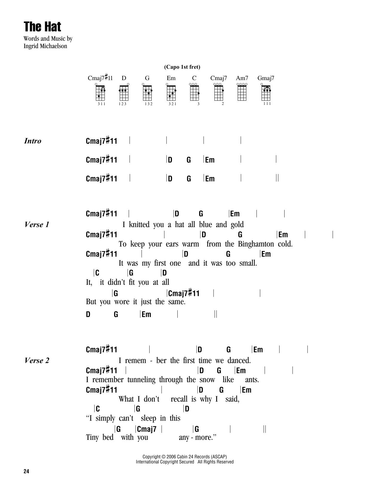 Ingrid Michaelson The Hat Sheet Music Notes Chords Printable