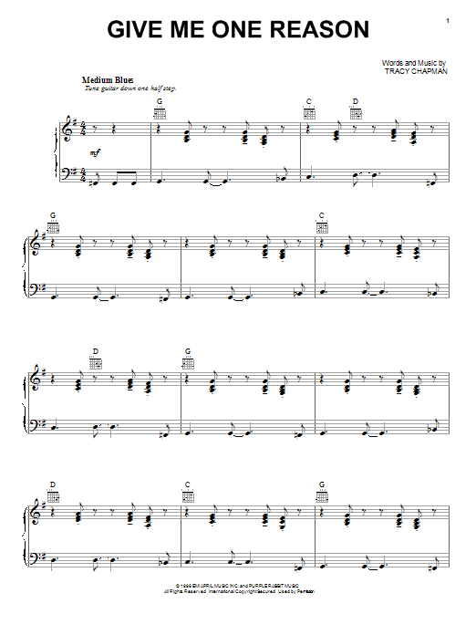 Tracy Chapman Give Me One Reason Sheet Music Notes Chords