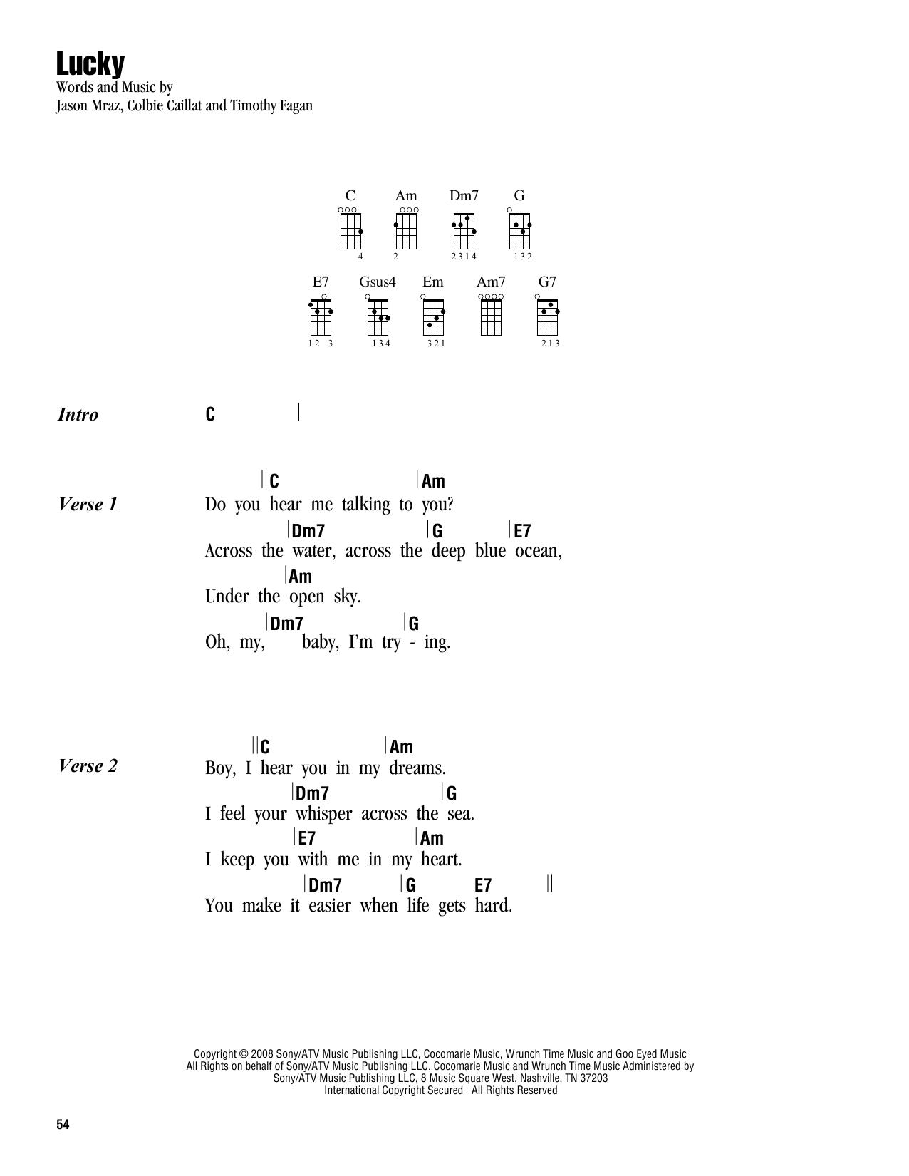 Jason Mraz Colbie Caillat Lucky Sheet Music Notes Chords