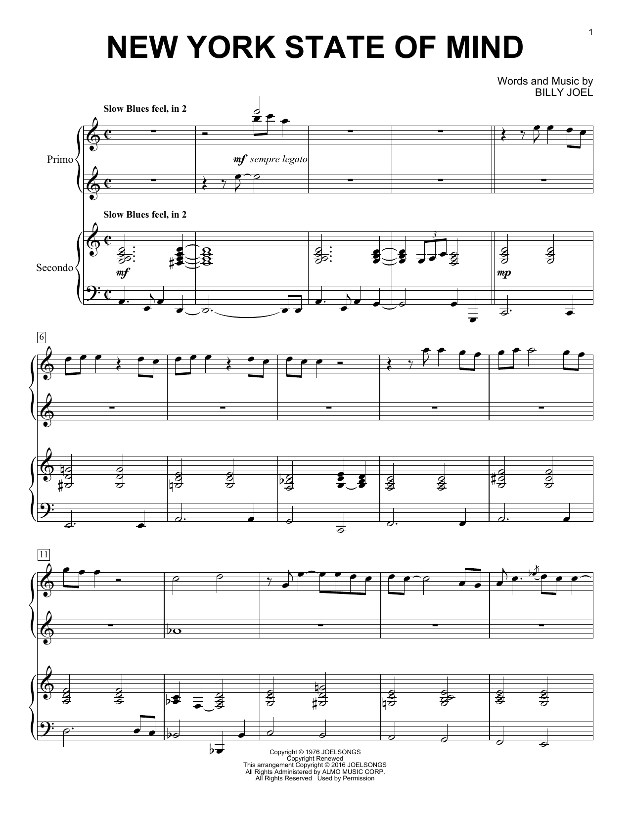 Billy Joel 'New York State Of Mind' Sheet Music Notes, Chords | Download  Printable Piano Duet - SKU: 163406