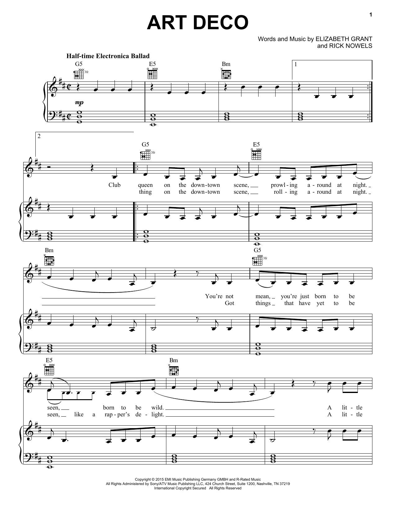 Lana Del Rey Art Deco Sheet Music Notes Chords Printable Pop