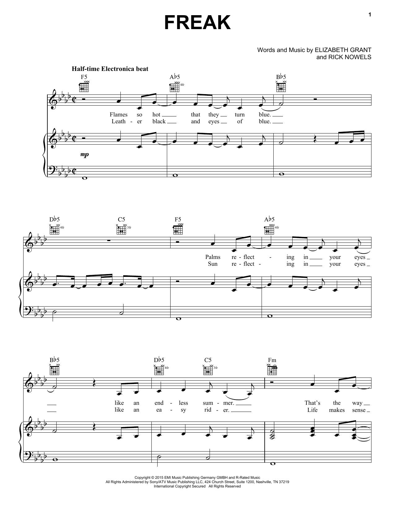 Lana Del Rey Freak Sheet Music Notes Chords Printable Pop Piano
