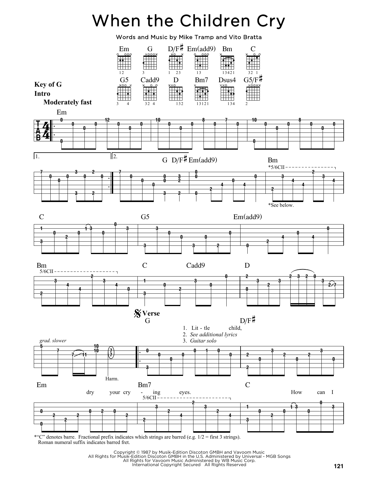 White Lion When The Children Cry Sheet Music Notes Chords