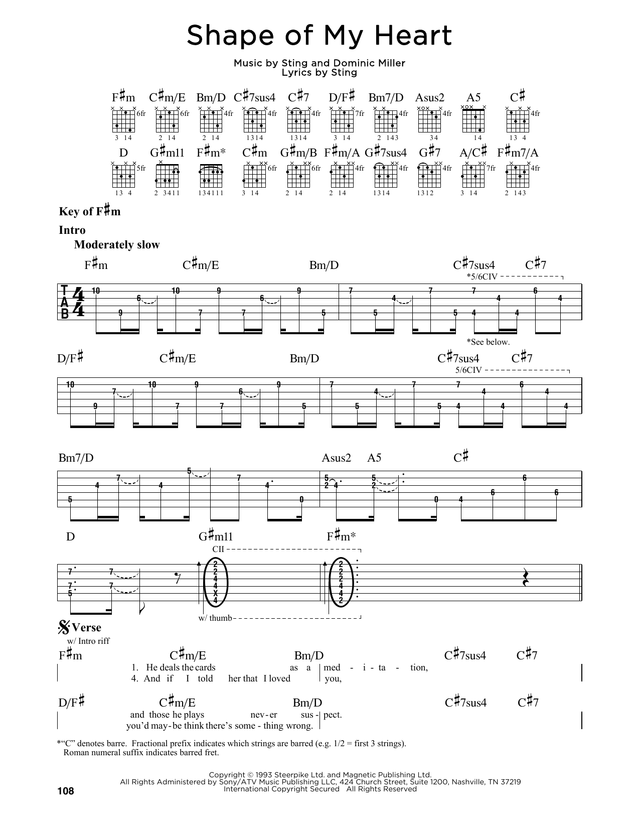 Sting Shape Of My Heart Sheet Music Notes Chords Printable Rock