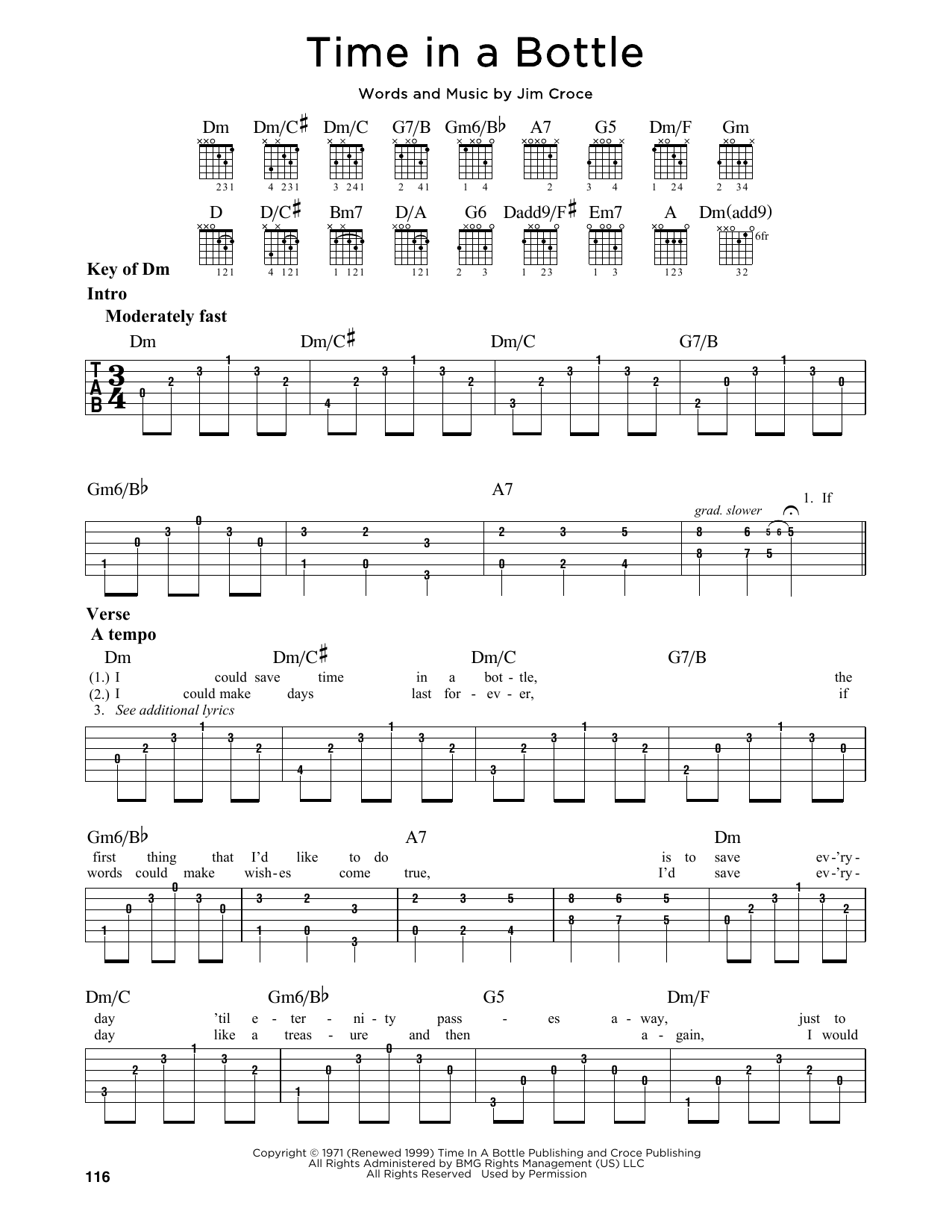 Jim Croce Time In A Bottle Sheet Music Notes Chords Printable