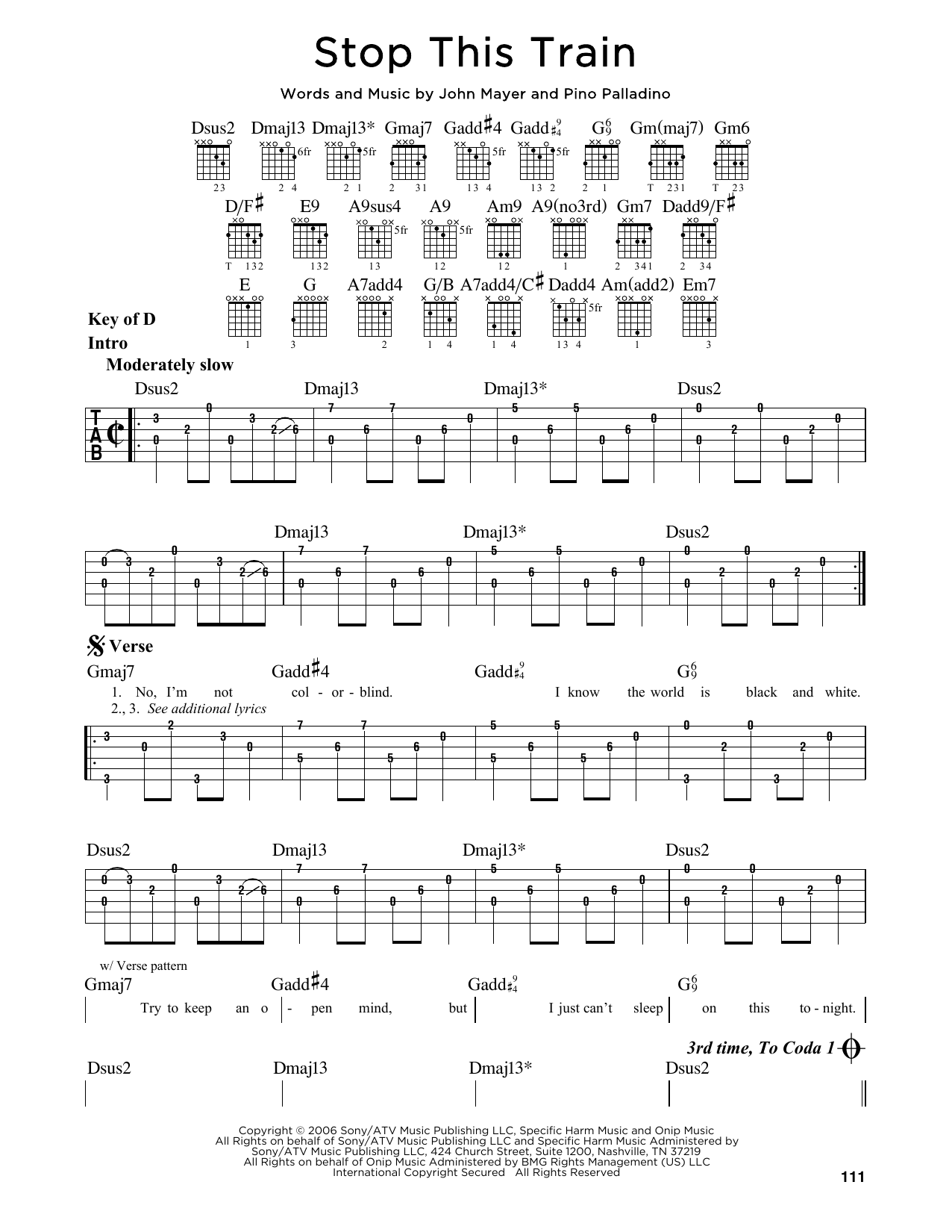 John Mayer Stop This Train Sheet Music Notes Chords Printable