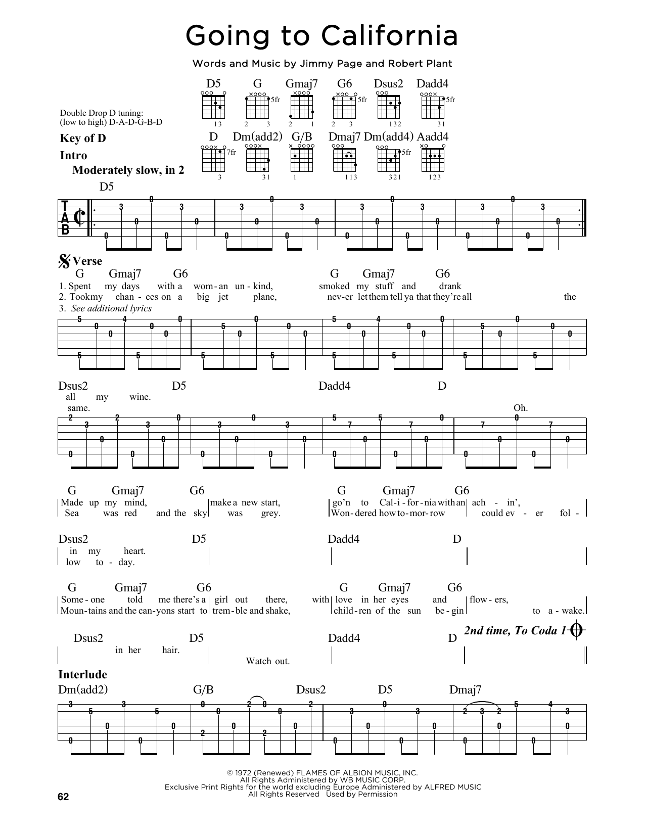 Led Zeppelin Going To California Sheet Music Notes Chords