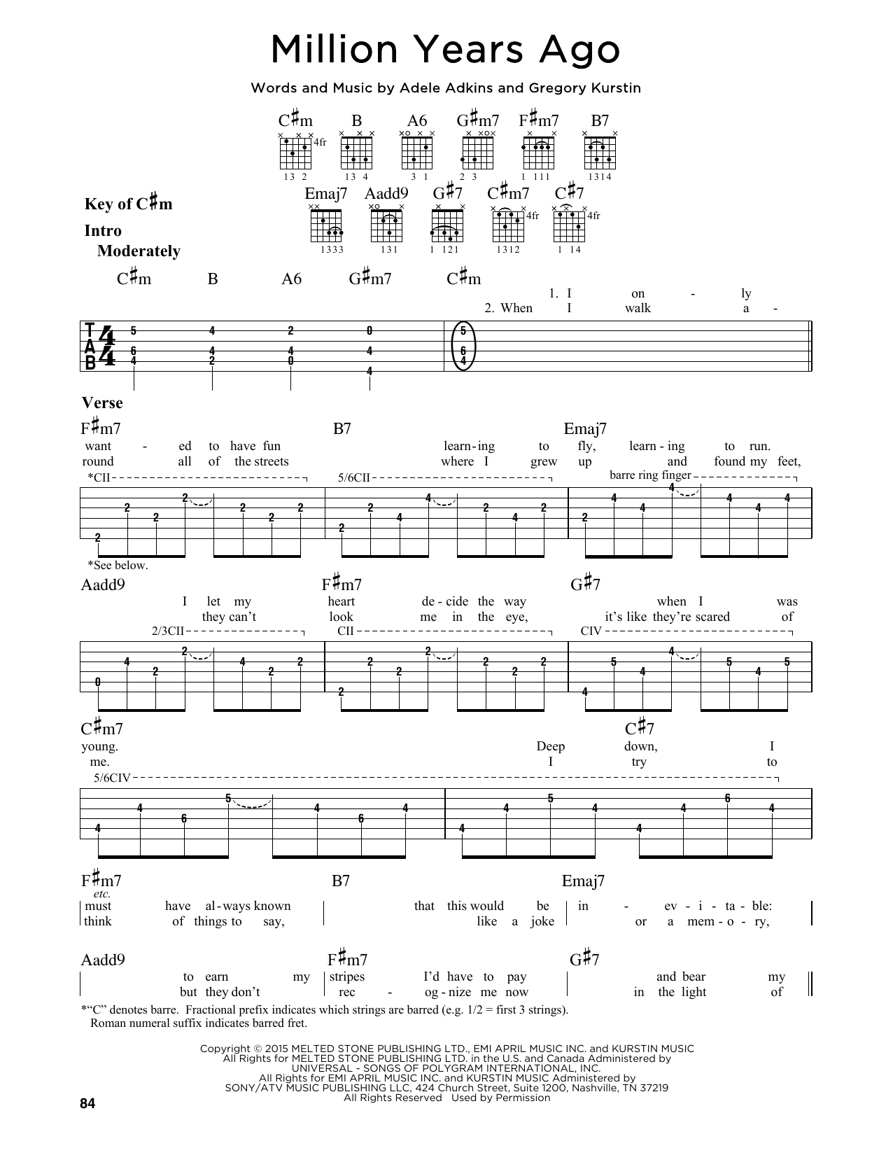 Adele Million Years Ago Sheet Music Notes Chords Printable Rock