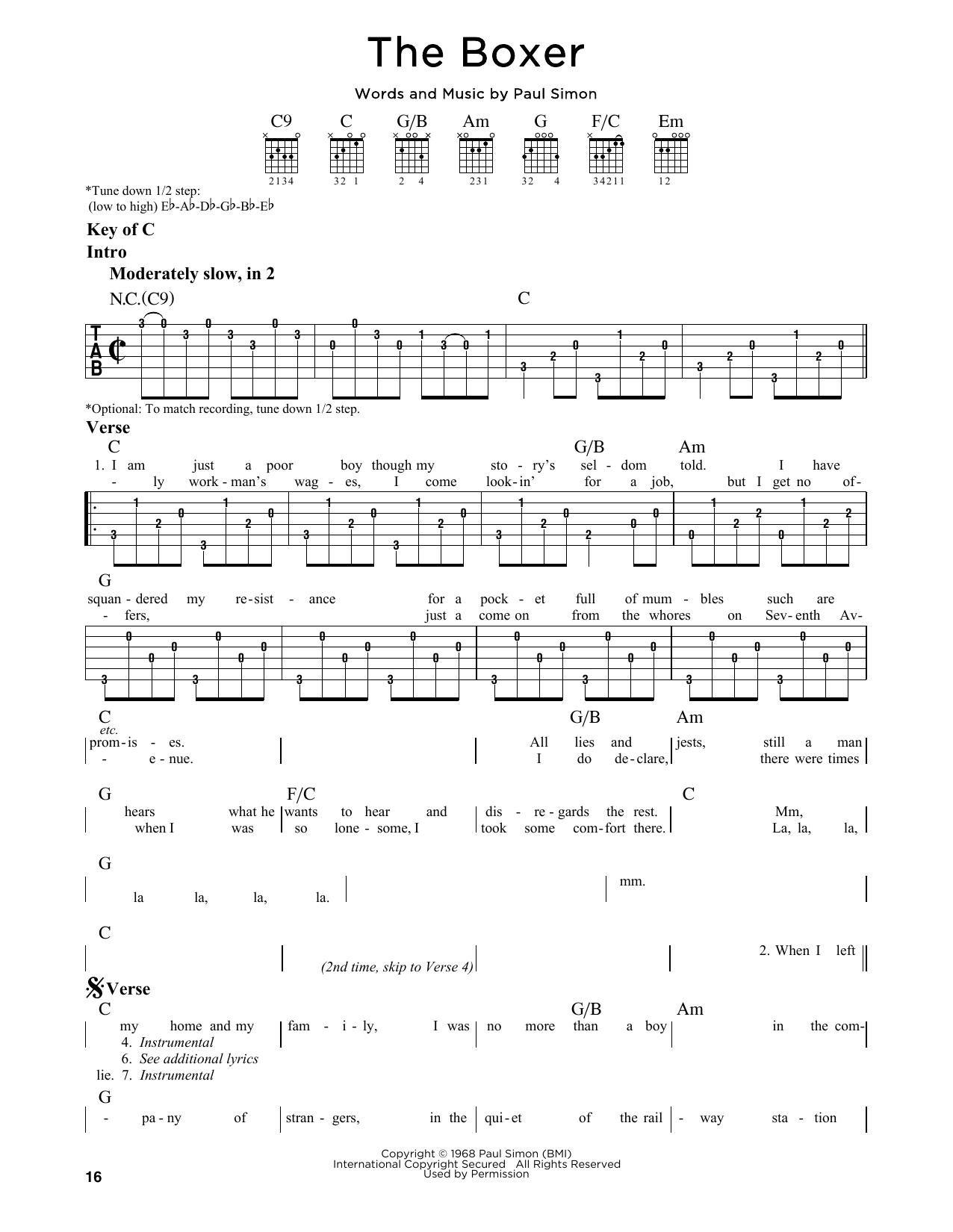Simon Garfunkel The Boxer Sheet Music Notes Chords Printable