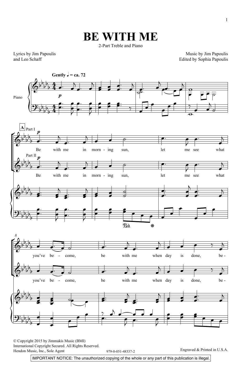 Jim Papoulis Be With Me Sheet Music Notes Chords Printable