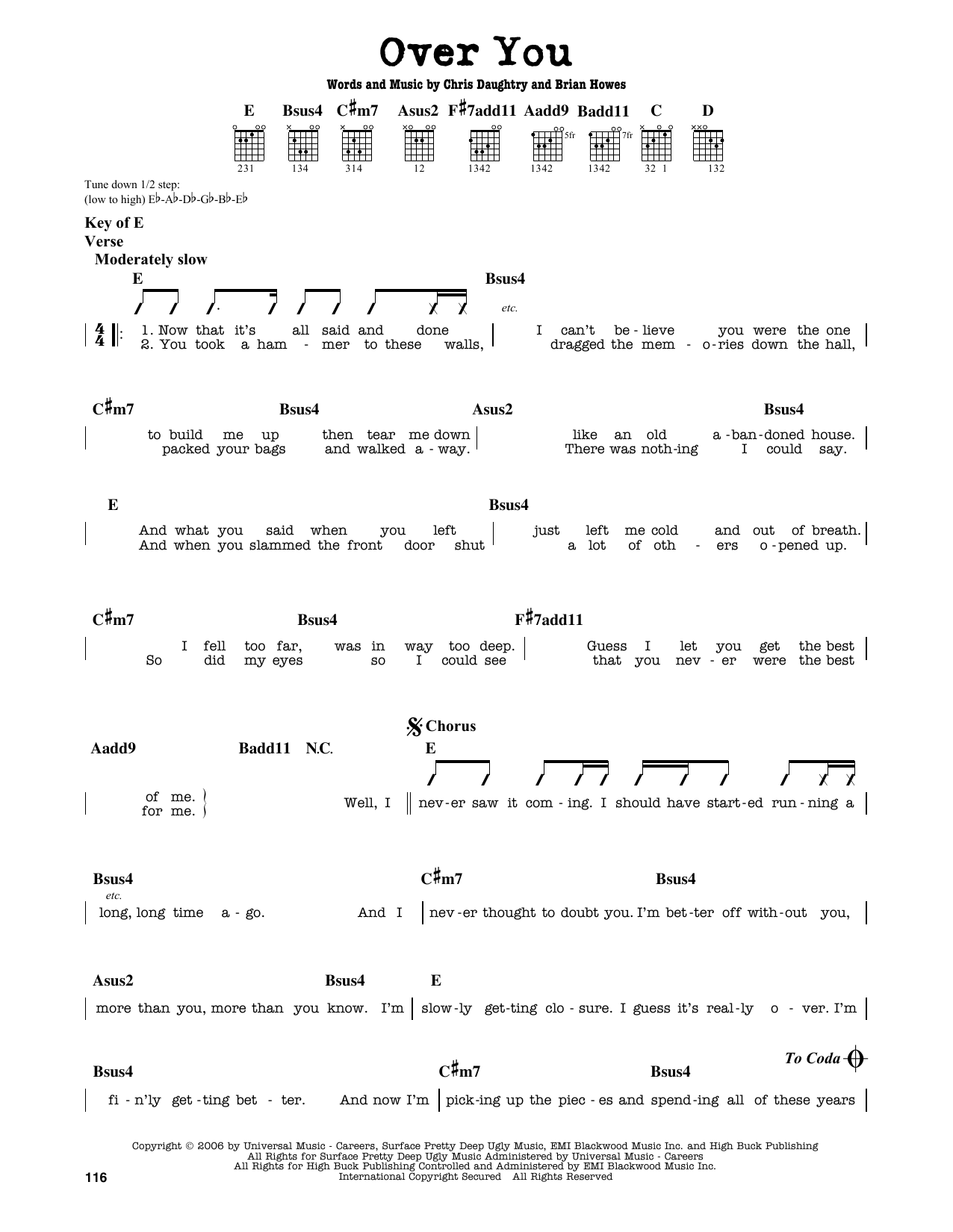 Daughtry Over You Sheet Music Notes Chords Printable Rock