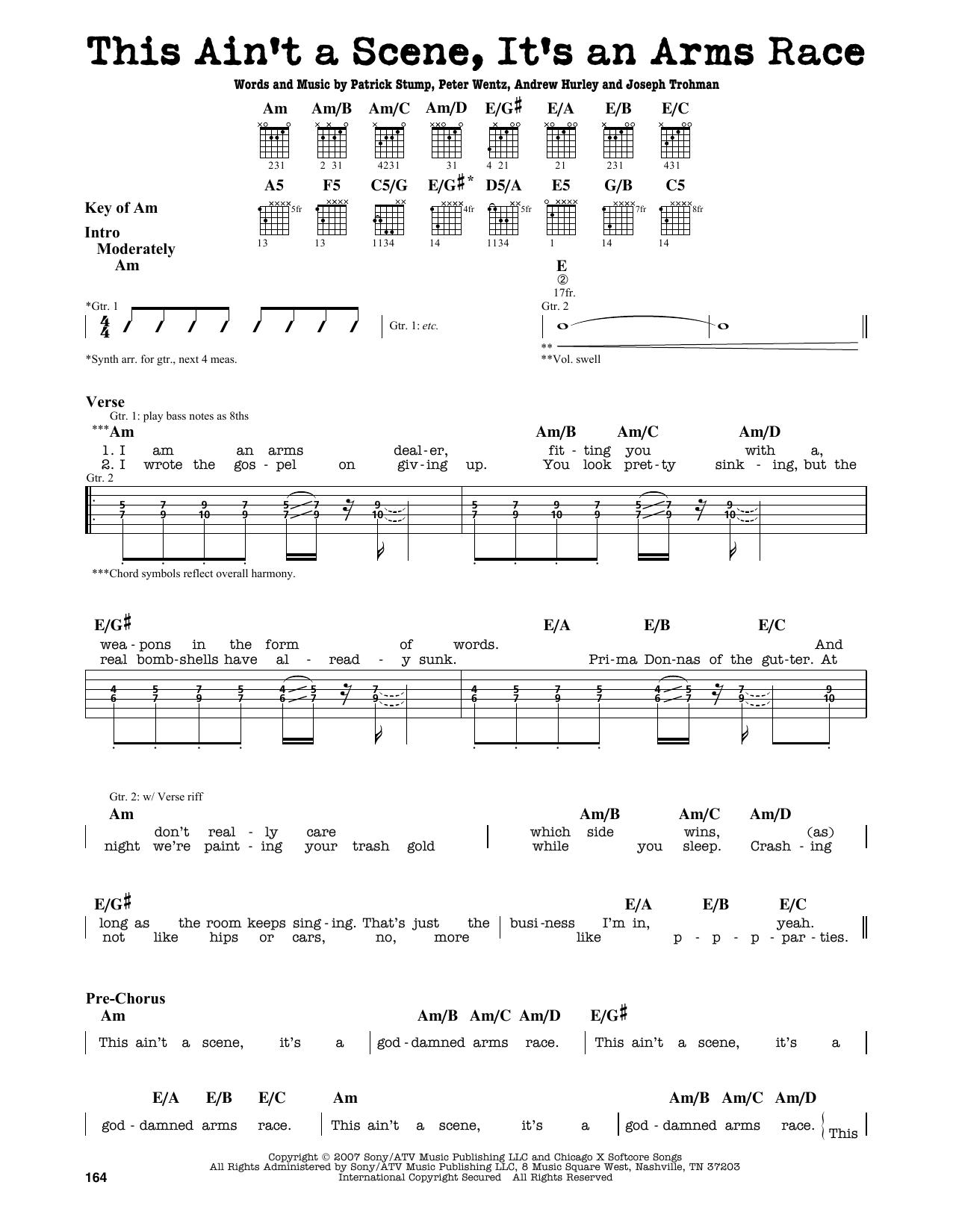 Fall Out Boy This Aint A Scene Its An Arms Race Sheet Music