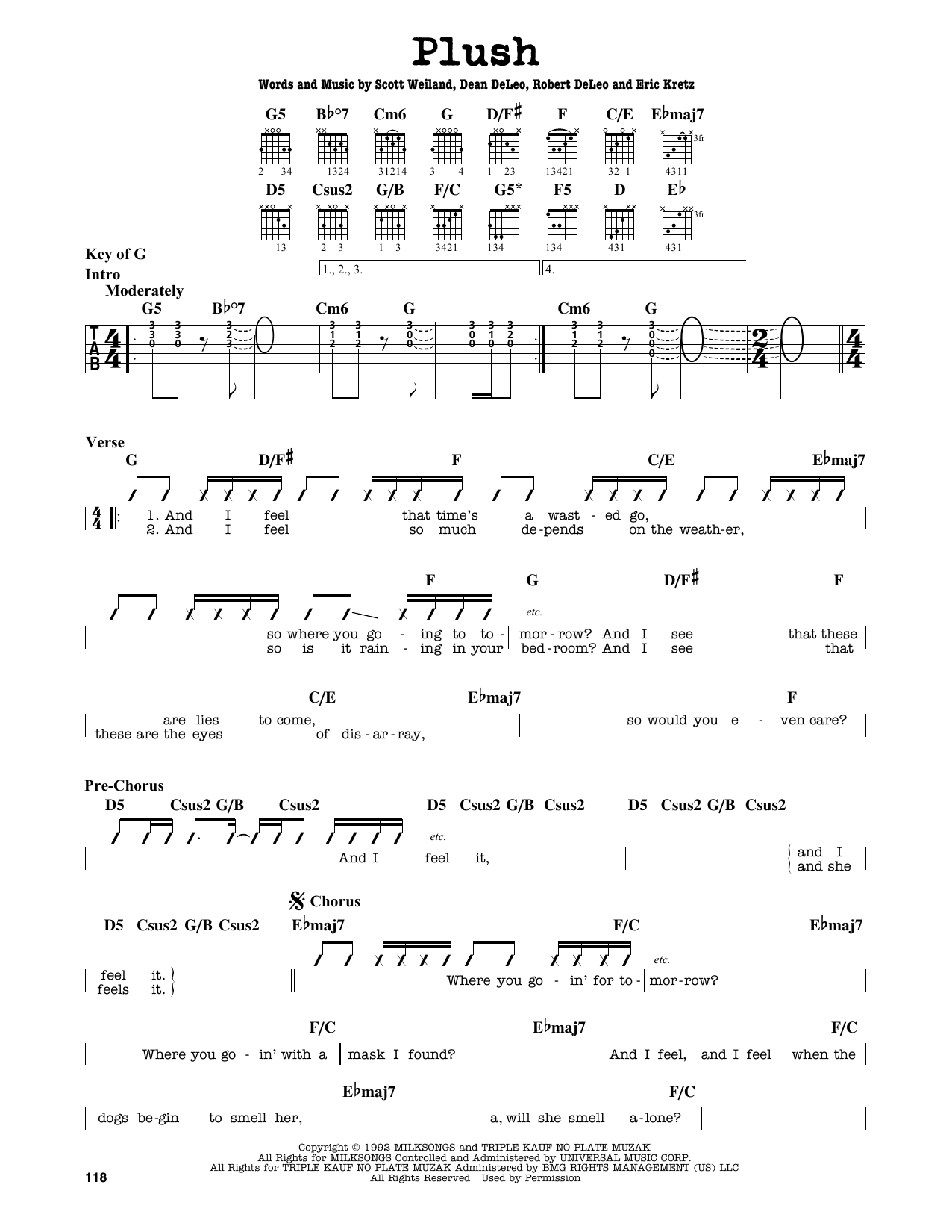 Stone Temple Pilots Plush Sheet Music Notes Chords Printable