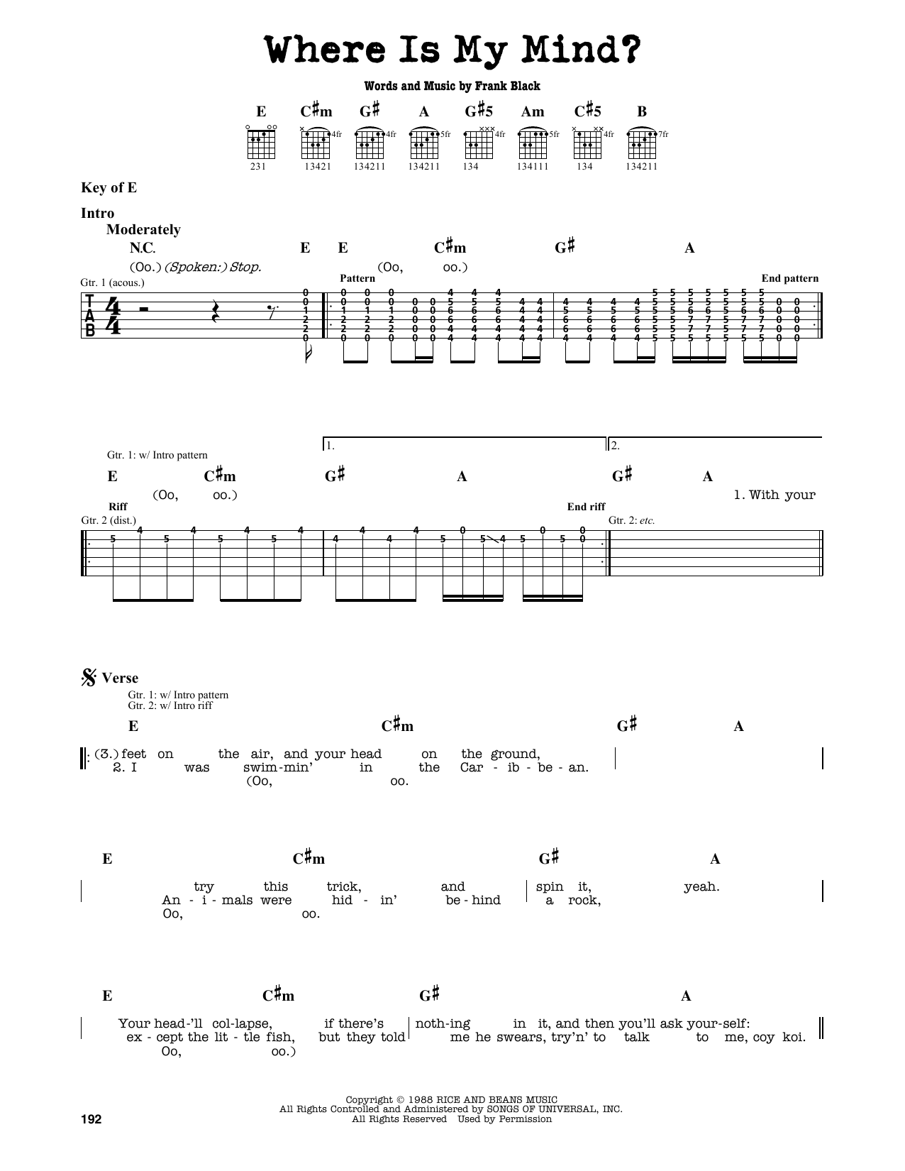 Violin where is my mind? The pixies sheet music, chords.