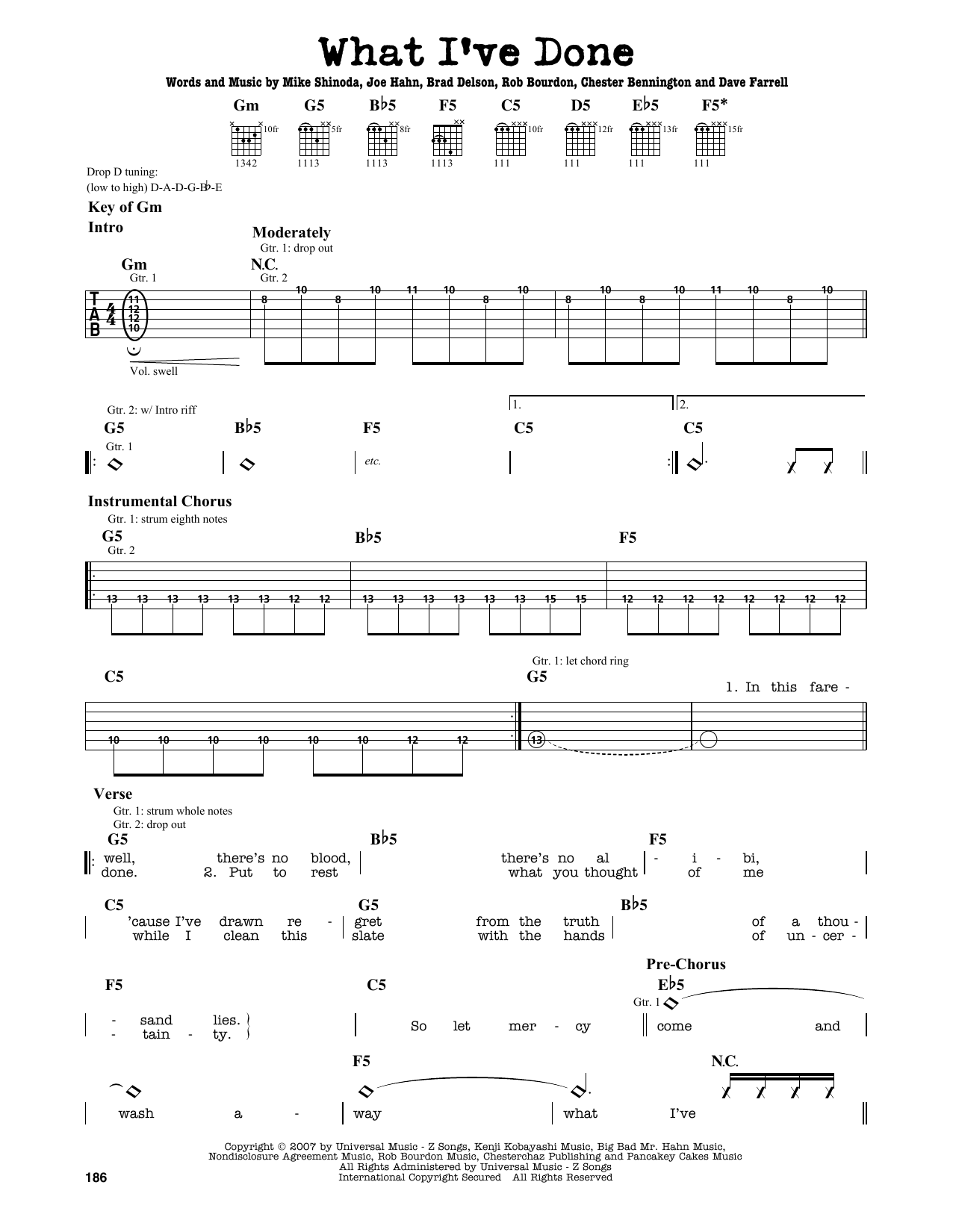 Linkin Park What Ive Done Sheet Music Notes Chords Printable