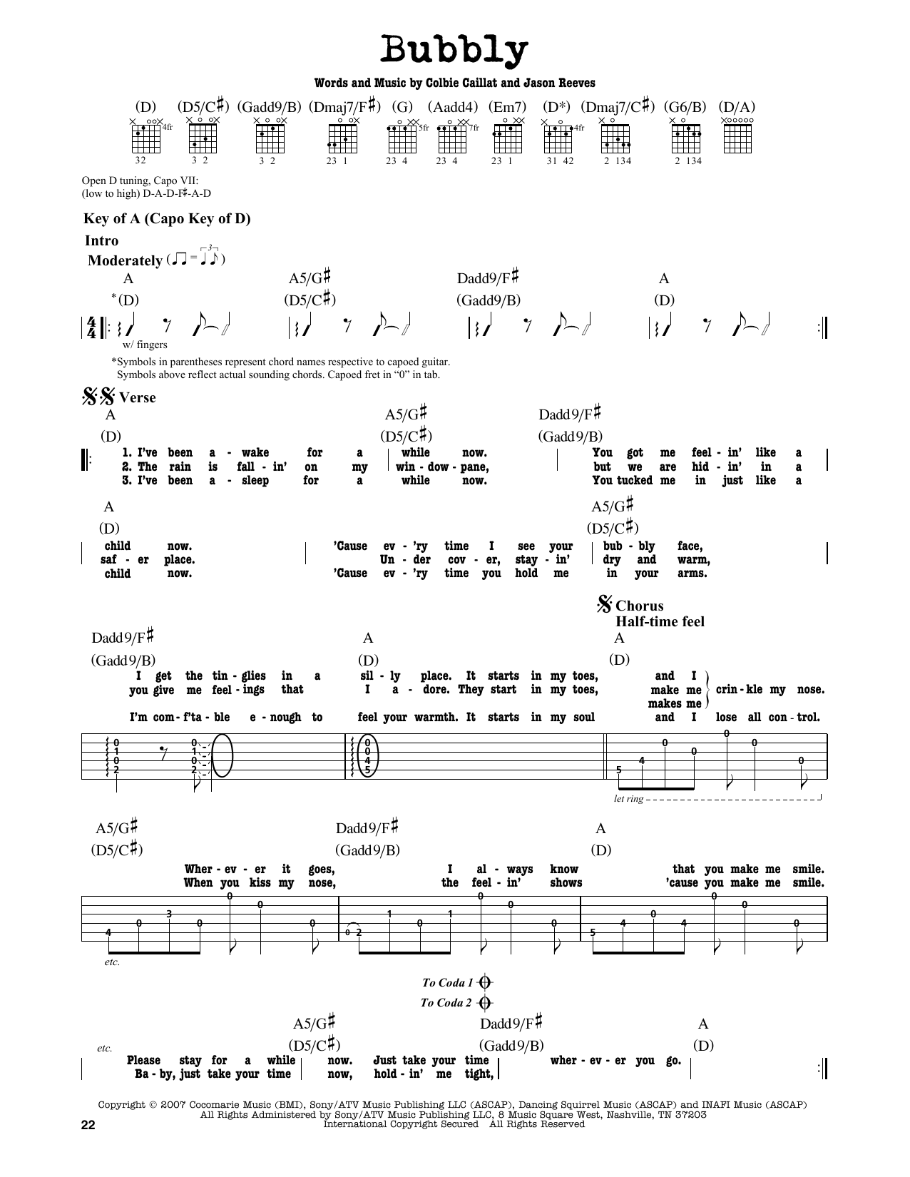 Colbie Caillat Bubbly Sheet Music Notes Chords Printable Rock