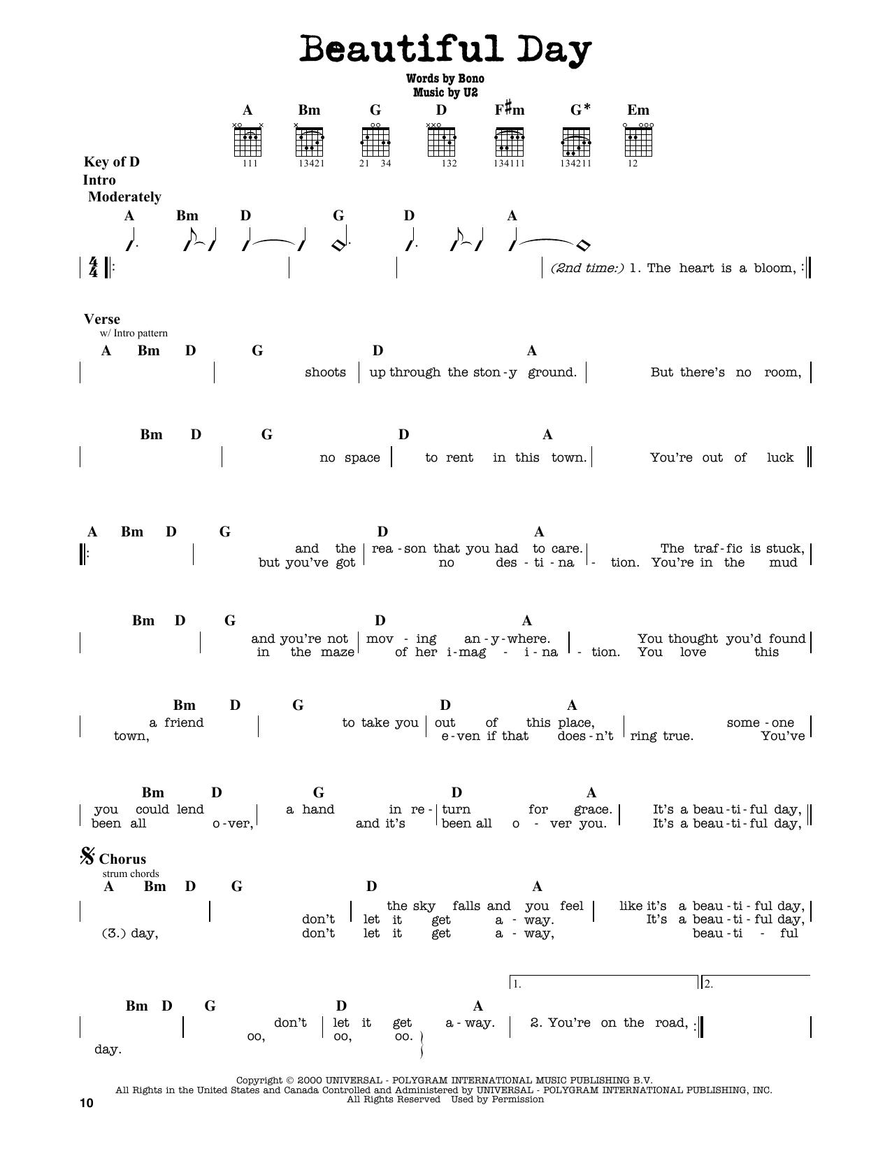 U2 Beautiful Day Sheet Music Notes Chords Printable Rock Guitar