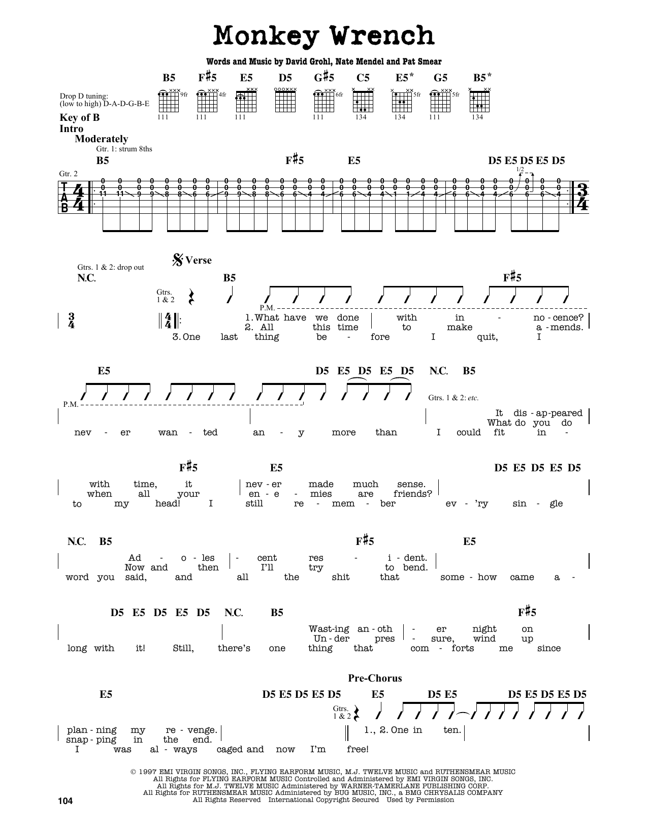 Foo Fighters Monkey Wrench Sheet Music Notes Chords Printable
