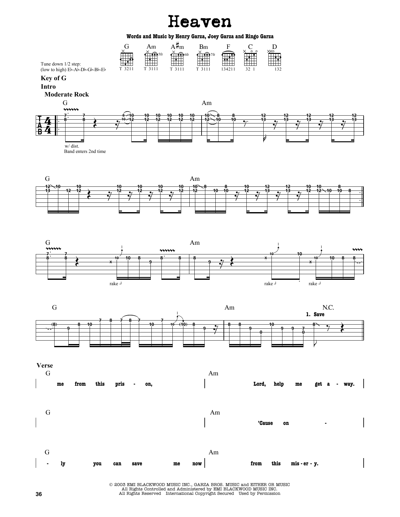 Los Lonely Boys Heaven Sheet Music Notes Chords Printable Pop