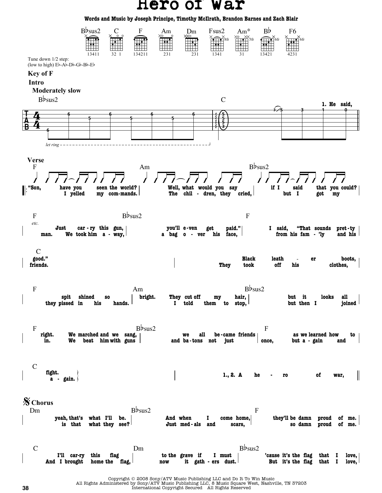 Rise Against Hero Of War Sheet Music Notes Chords Printable