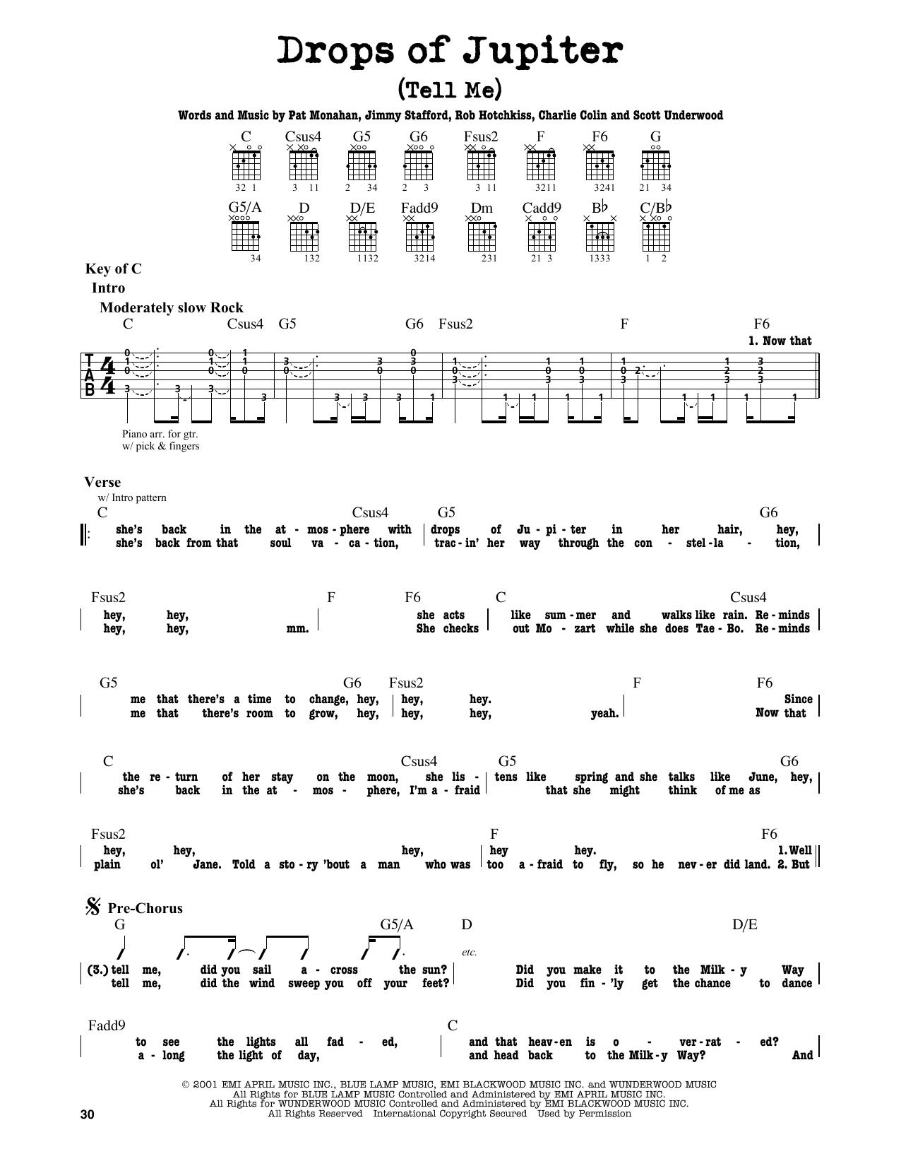 Train Drops Of Jupiter Tell Me Sheet Music Notes Chords