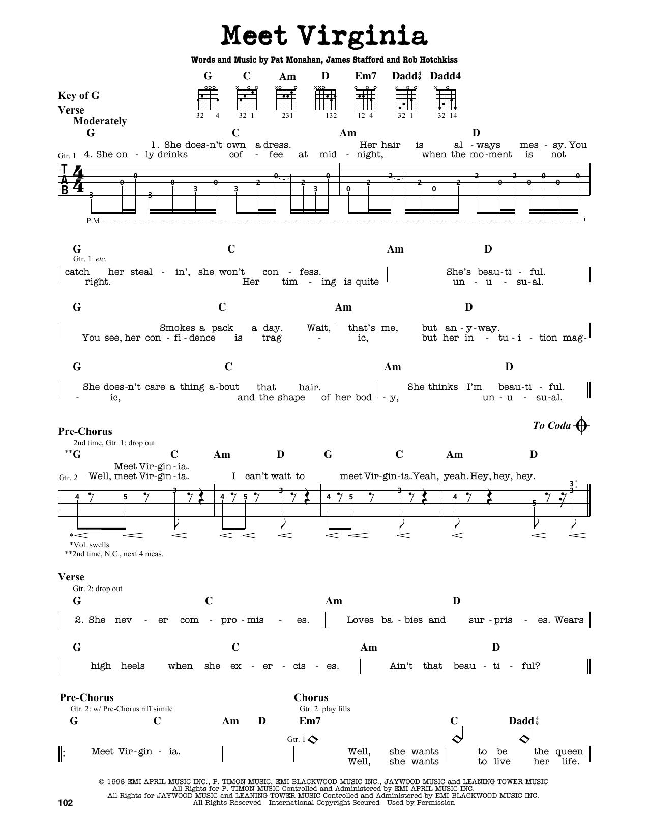 Train Meet Virginia Sheet Music Notes Chords Printable Rock
