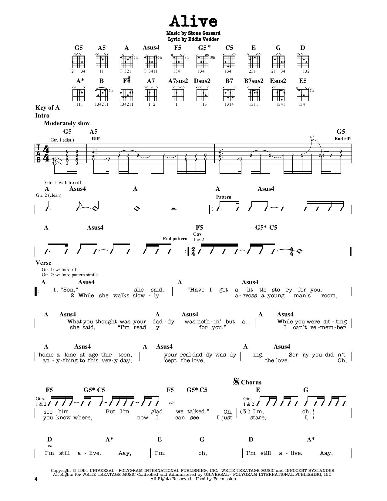 Pearl Jam Alive Sheet Music Notes Chords Printable Pop Guitar