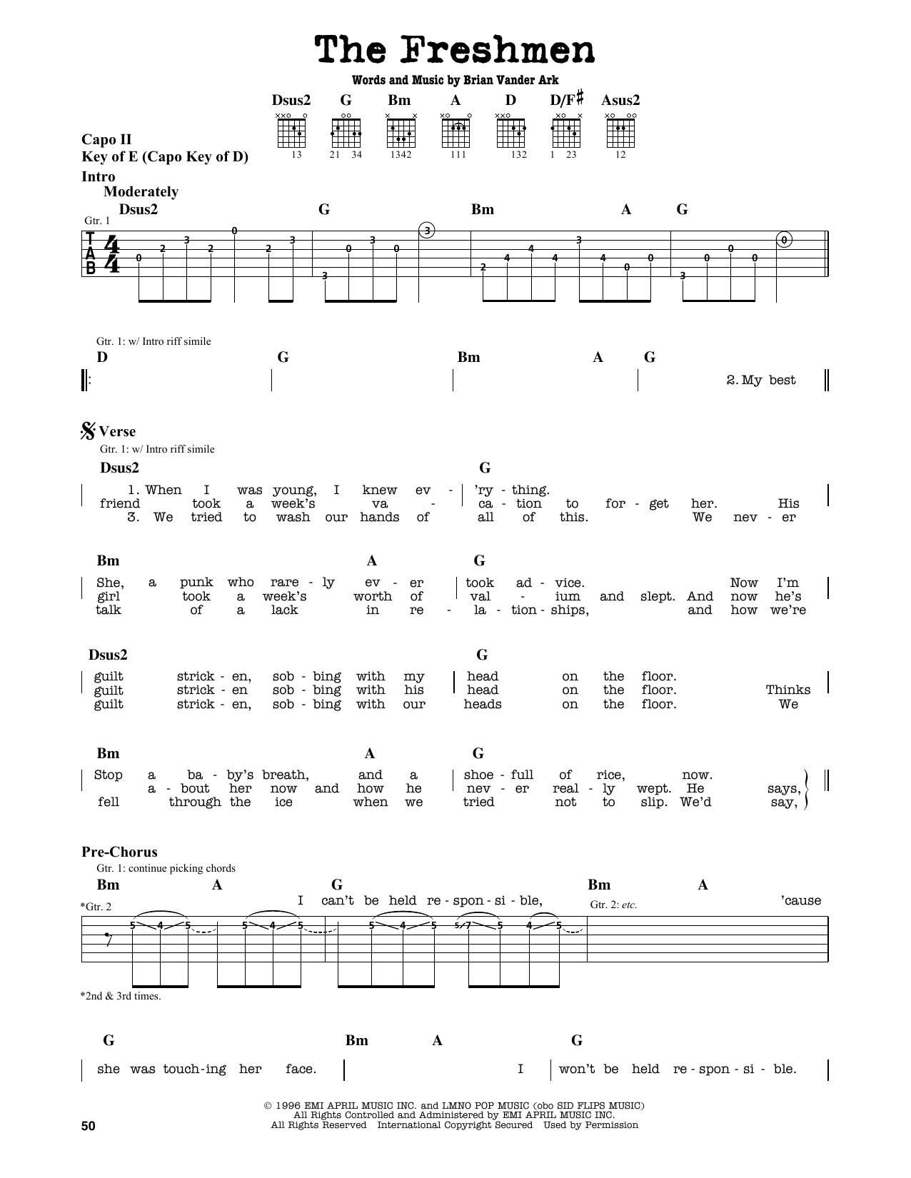 The Verve Pipe The Freshmen Sheet Music Notes Chords Printable