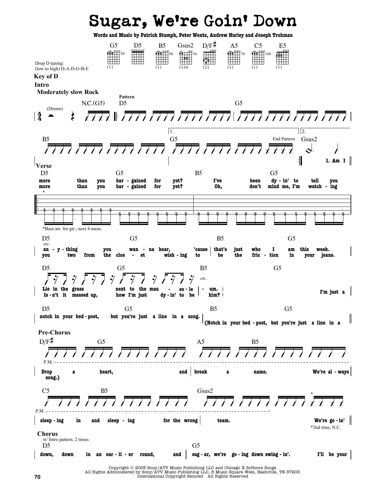 Fall Out Boy Sugar Were Goin Down Sheet Music Notes Chords
