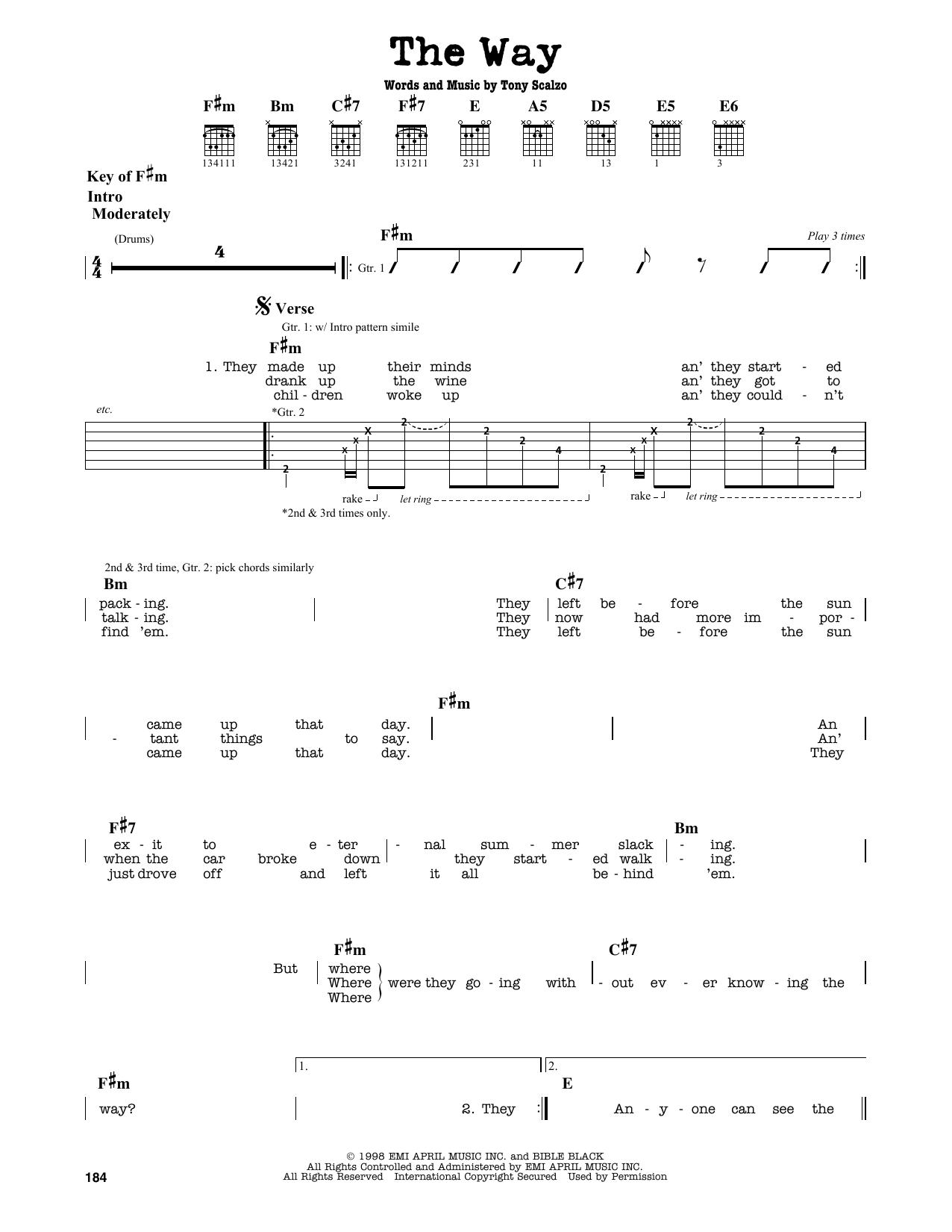 Fastball The Way Sheet Music Notes Chords Printable Rock Guitar
