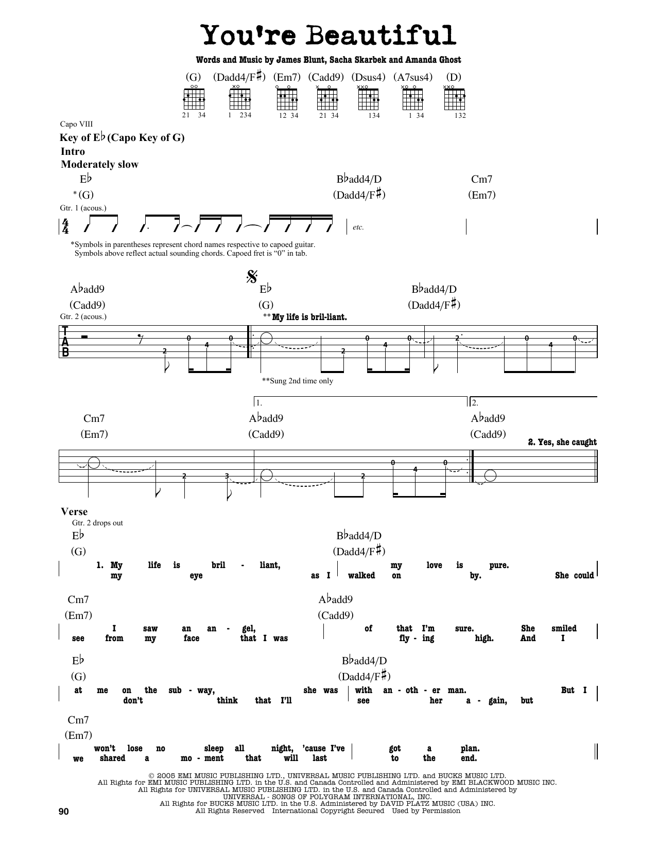 James Blunt Youre Beautiful Sheet Music Notes Chords Printable
