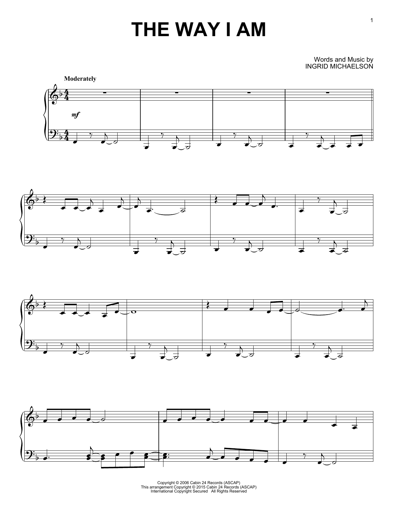 Ingrid Michaelson The Way I Am Sheet Music Notes Chords