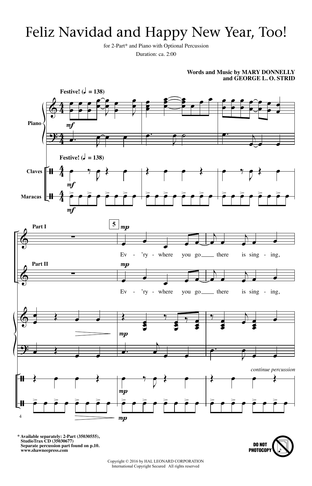 Mary Donnelly Feliz Navidad And Happy New Year Too Sheet Music