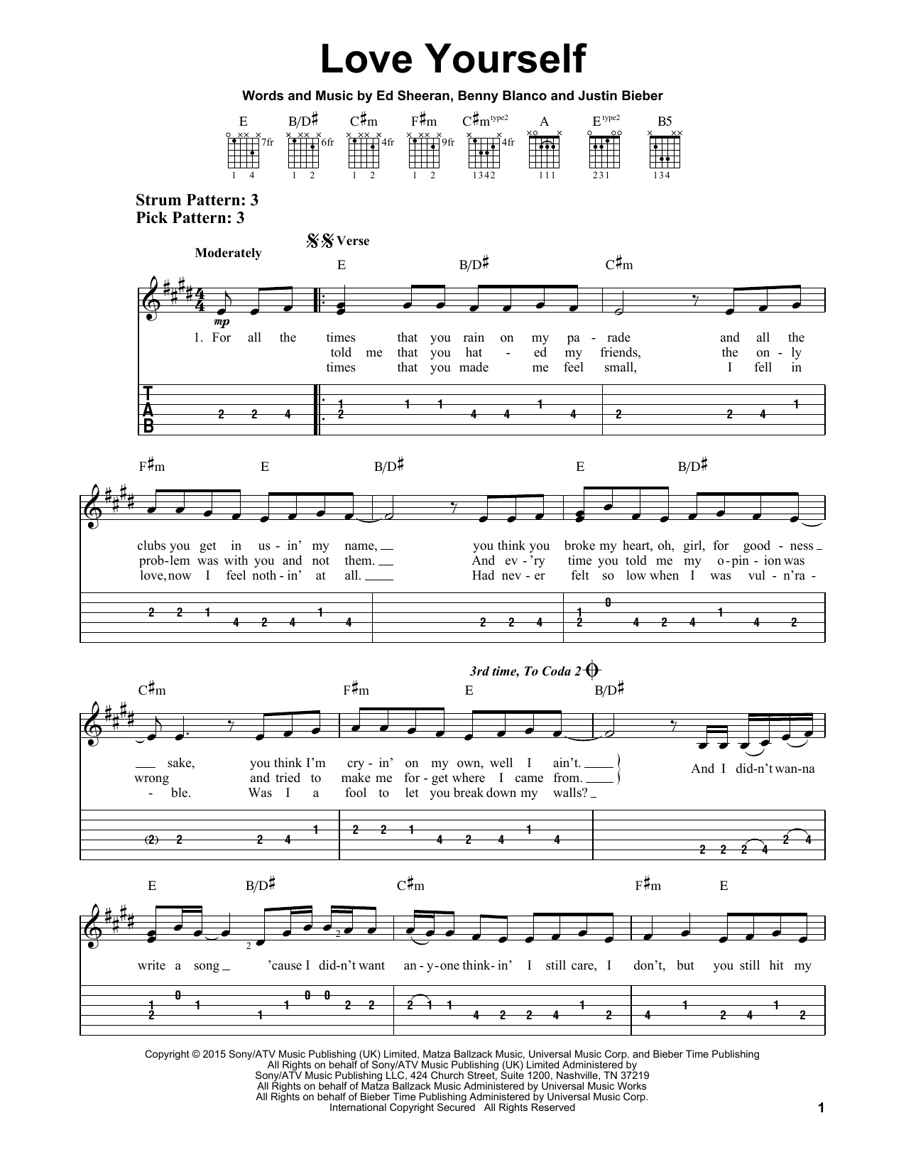 Justin Bieber Love Yourself Sheet Music Notes Chords Printable